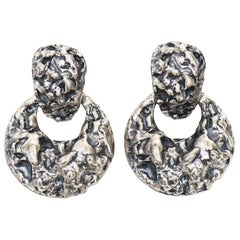 Napier Silver and Black Sculptural Style Screw Back Earrings
