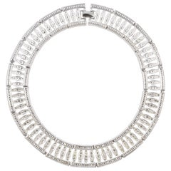 Napier Silver Plated Clear Rhinestone Link Collar Necklace circa 1980s