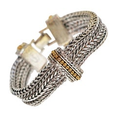 Napier Vintage Chunky Silver Braided Multi Chain Statement Bracelet, Signed