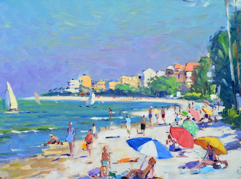 Modern 'Naples Beach, Florida' by Niek Van Der Plas, Well Listed Dutch Impressionist For Sale