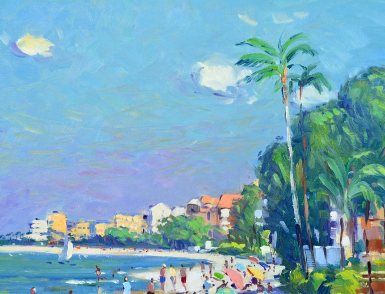 Painted 'Naples Beach, Florida' by Niek Van Der Plas, Well Listed Dutch Impressionist For Sale