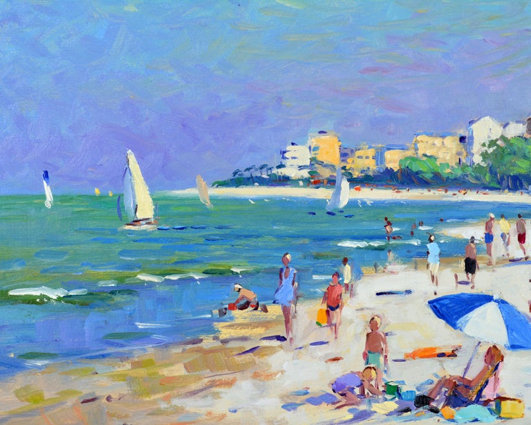 'Naples Beach, Florida' by Niek Van Der Plas, Well Listed Dutch Impressionist In Excellent Condition For Sale In Ft. Lauderdale, FL