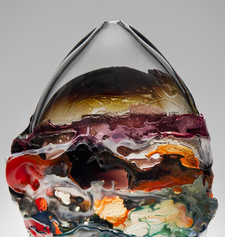 Organic Modern Naples II, a Unique Orange, Brown and Mixed Colored Glass Vase by Bethany Wood For Sale
