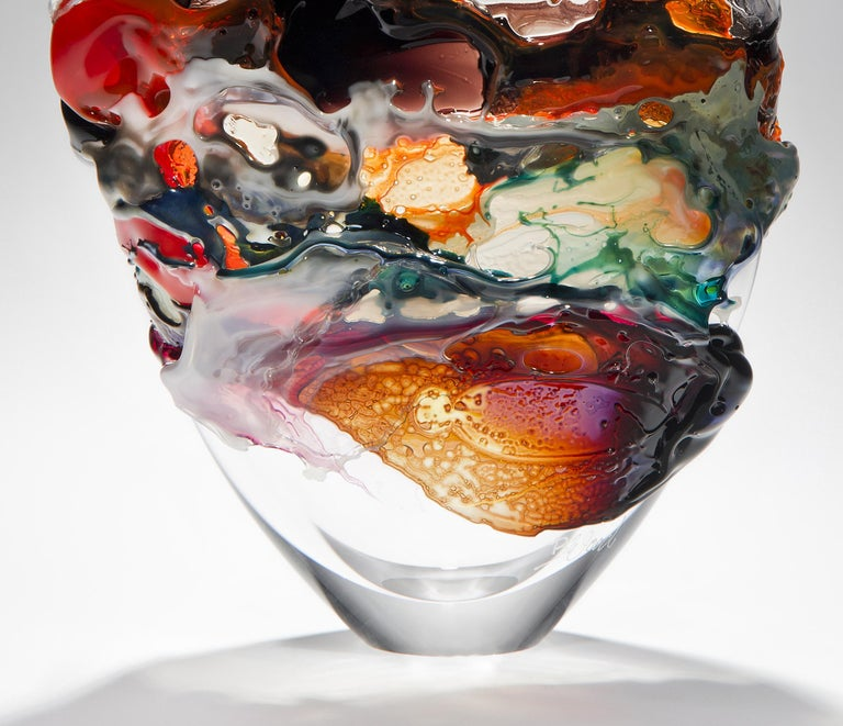 British Naples II, a Unique Orange, Brown and Mixed Colored Glass Vase by Bethany Wood For Sale