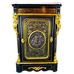 Napoiean III Brass Inlaid Gilt Bronze Mounted Ebonized Wood Cabinet