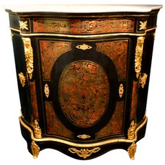 Napoleon III Serpentine Form Boulle, Gilt Bronze and Ebonized Wood Cabinet