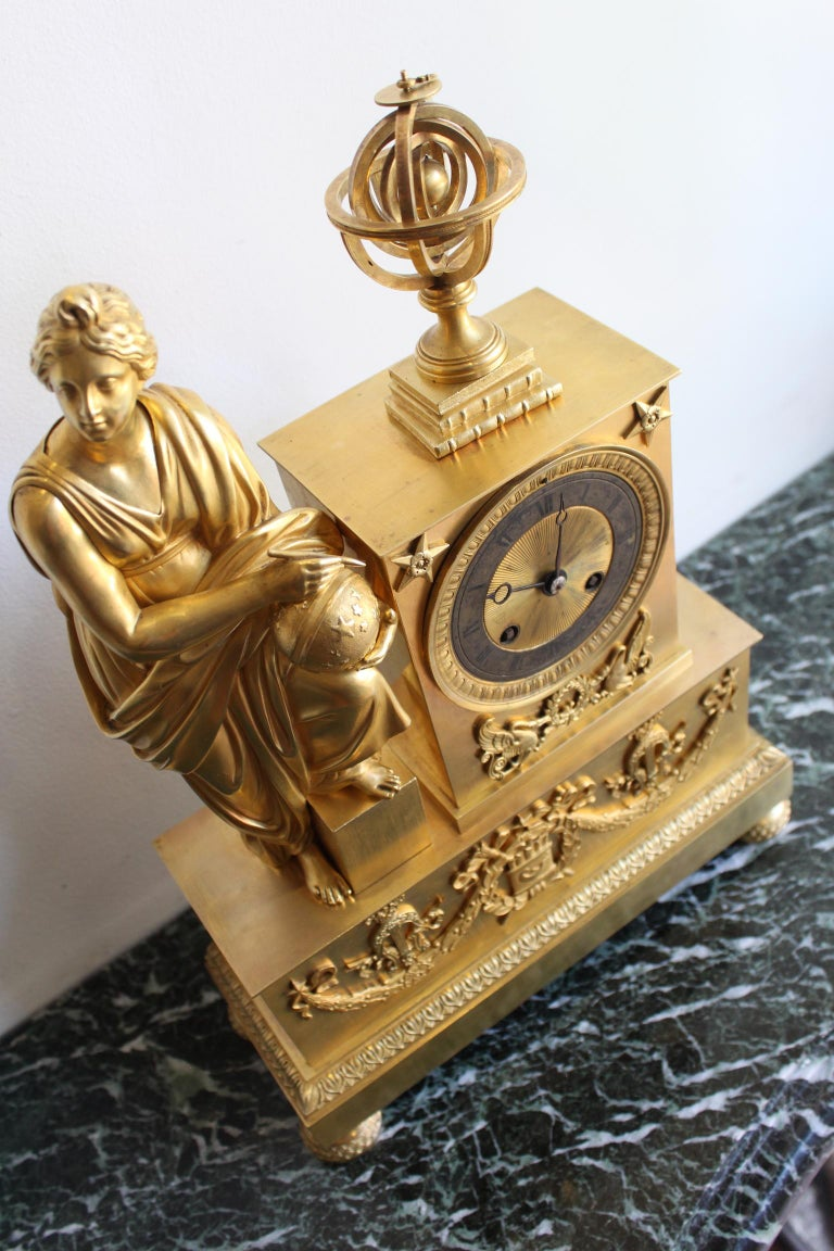 Napoleon 3 Astronomy Bronze Clock For Sale 4