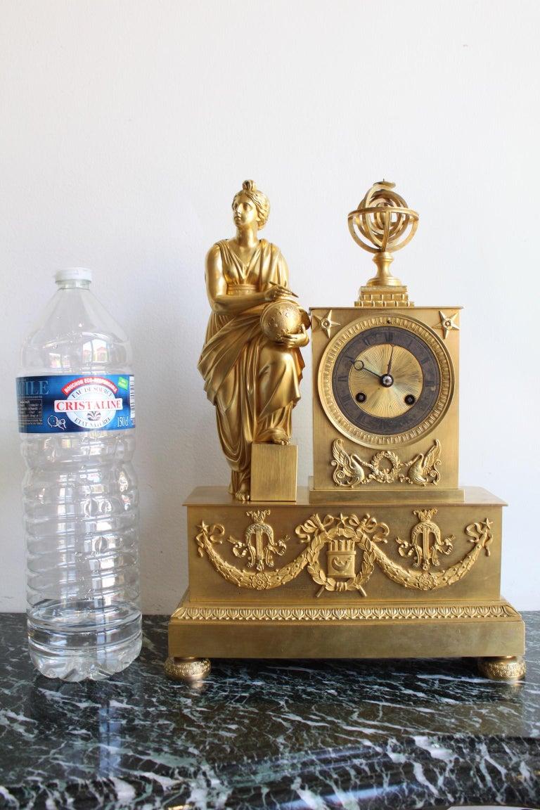 Napoleon 3 Astronomy Bronze Clock For Sale 5