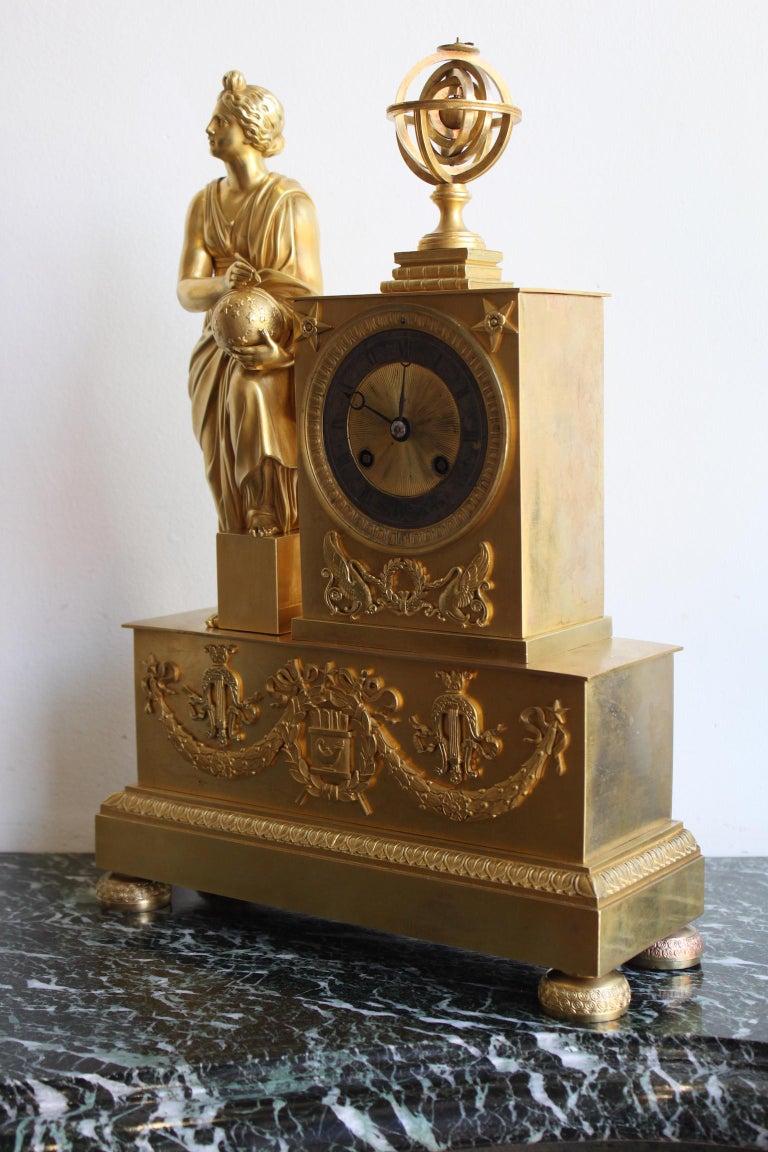 Napoleon III Napoleon 3 Astronomy Bronze Clock For Sale