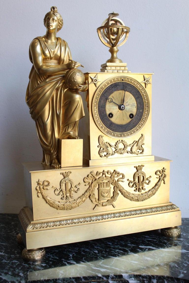 European Napoleon 3 Astronomy Bronze Clock For Sale