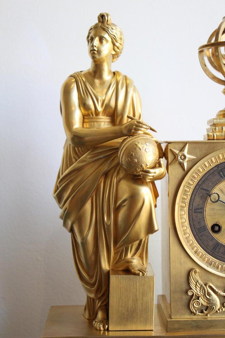 Gilt Napoleon 3 Astronomy Bronze Clock For Sale