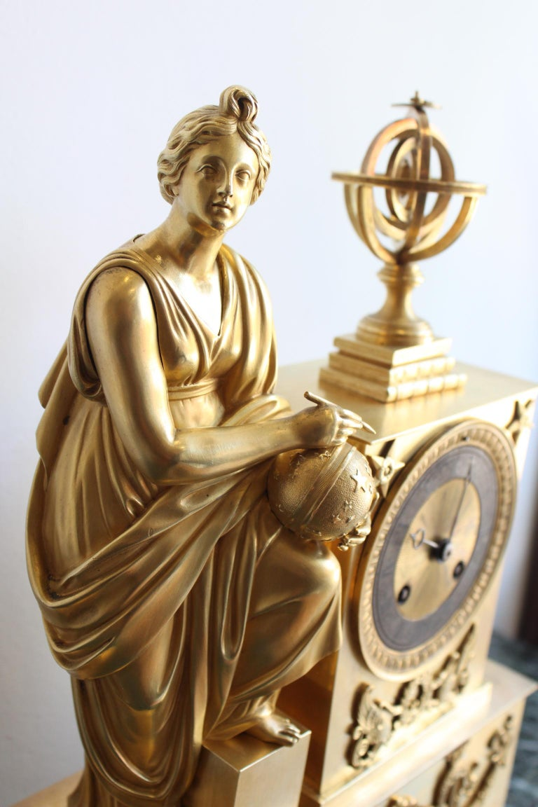 Napoleon 3 Astronomy Bronze Clock In Good Condition For Sale In Marseille, FR