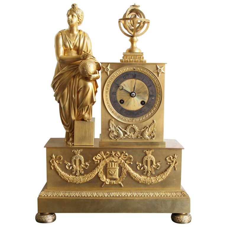 Napoleon 3 Astronomy Bronze Clock For Sale