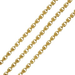 Napoleon 3 French 18 Karat Yellow Gold Long Chain Necklace