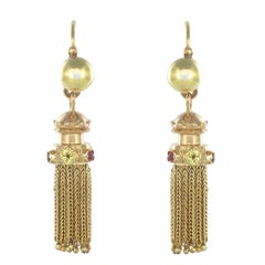 Napoleon 3 French Gold Ruby Pompom Dangle Earrings