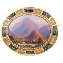 Napoléon 3rd Lake Interlaken Painted Porcelain 18 Carat Yellow Gold Brooch