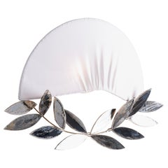 Napoléon Contemporary Wall Lamp Silk Taffeta, Laurel Crown, Silvered Glass Leaf