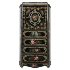 Napoleon III Antique French Secretary in Black Lacquer and Mother of Pearl Inlay