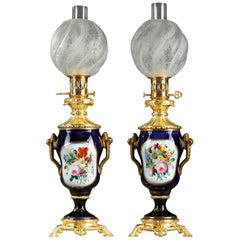 Napoleon III Bayeux Porcelain and Ormolu Oil Lamps