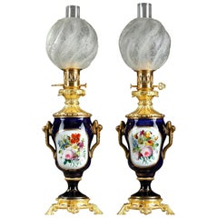Napoleon III Bayeux Porcelain Oil Lamps