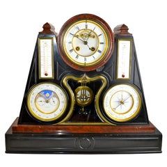 Napoleon III Black and Rouge Marble Mantle Clock with Multiple Complications
