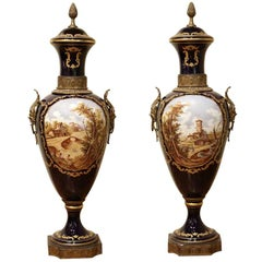 Napoleon III Blue Royal Lidded Vases Hand Painted Landscapes and Bronze Handles