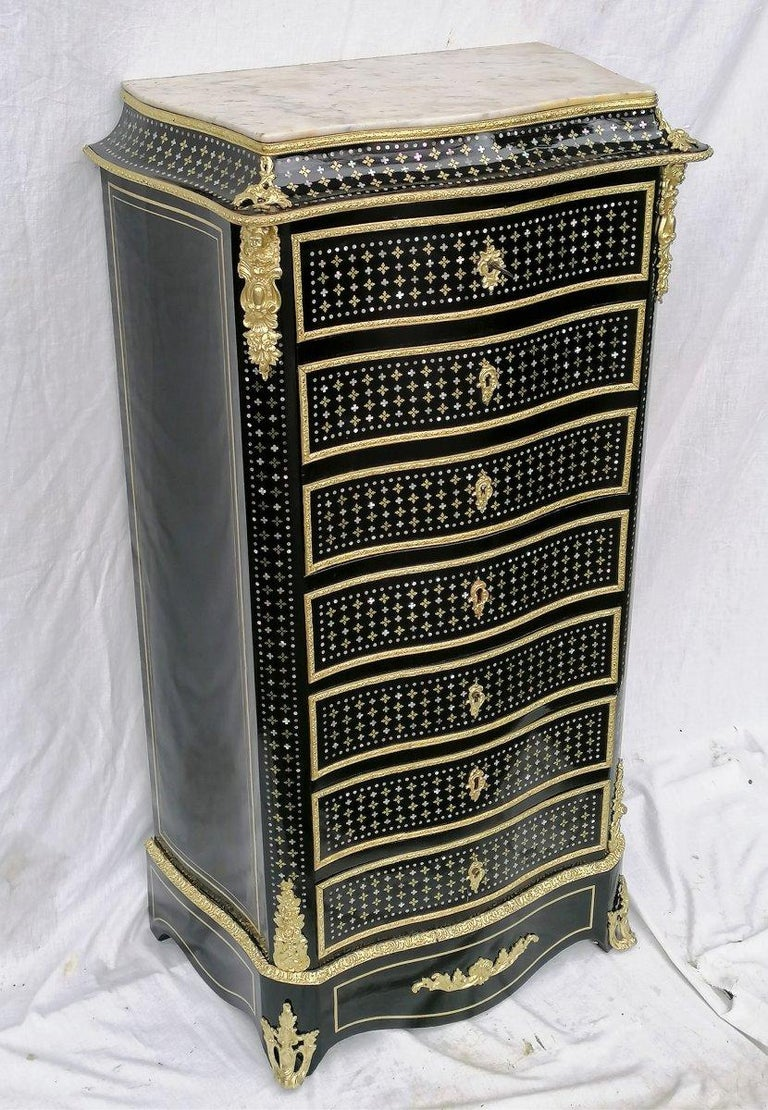 Napoleon III Boule Marquetry Cabinet Secretary, France, 1875 In Good Condition In Paris, FR