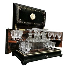 Napoleon III Boulle Liquor Cellar Cabinet and Baccarat Crystal Set