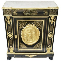 Napoleon III Boulle Marquetry Carrara Cabinet, France, 19th Century