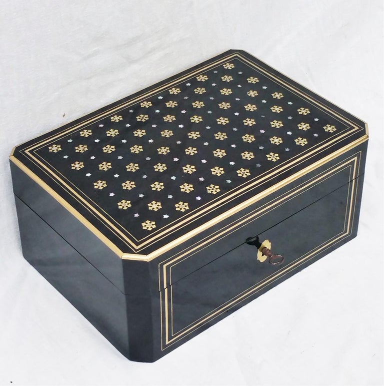 French Napoleon III  Boulle Marquetry Jewelry Box, France 1865 For Sale