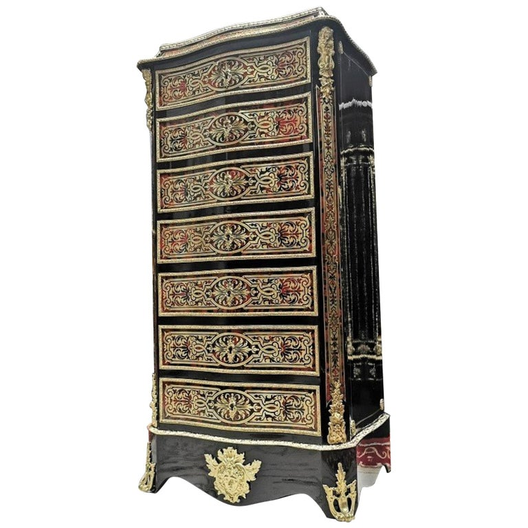 Napoleon III Boulle Marquetry Secretary Cabinet, France, 19th Century