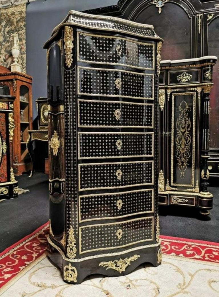 Blackened Napoleon III Boulle Marquetry Secretary, France, 19th Century For Sale