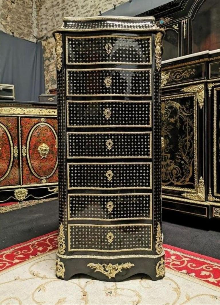 Mahogany Napoleon III Boulle Marquetry Secretary, France, 19th Century For Sale