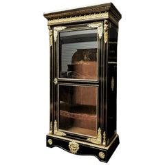 Napoleon III Boulle Vitrine Bookcase Cabinet, France, 1865