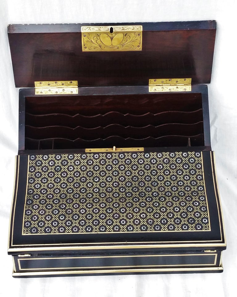 French Napoleon III Boulle Writing Cabinet Box, France, 1870 For Sale
