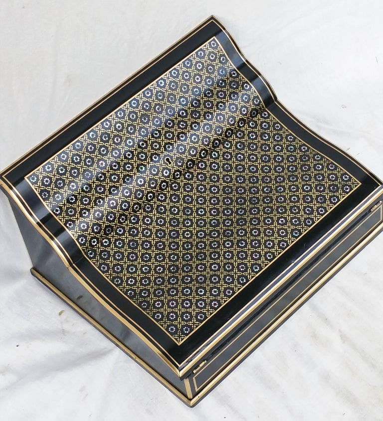 Brass Napoleon III Boulle Writing Cabinet Box, France, 1870 For Sale