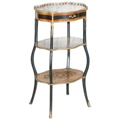 Napoleon III Brass Gallery Fruitwood Ebonised and Inlaid Three-Tired Side Table