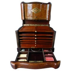Napoleon III Brass Marquetry Cigar and Game Humidor