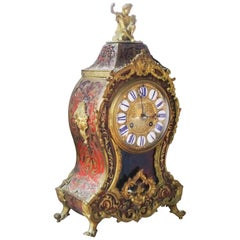 Napoleon III Cartel Violin Shape Table Clock in Boulle Marquetry, France, 1870