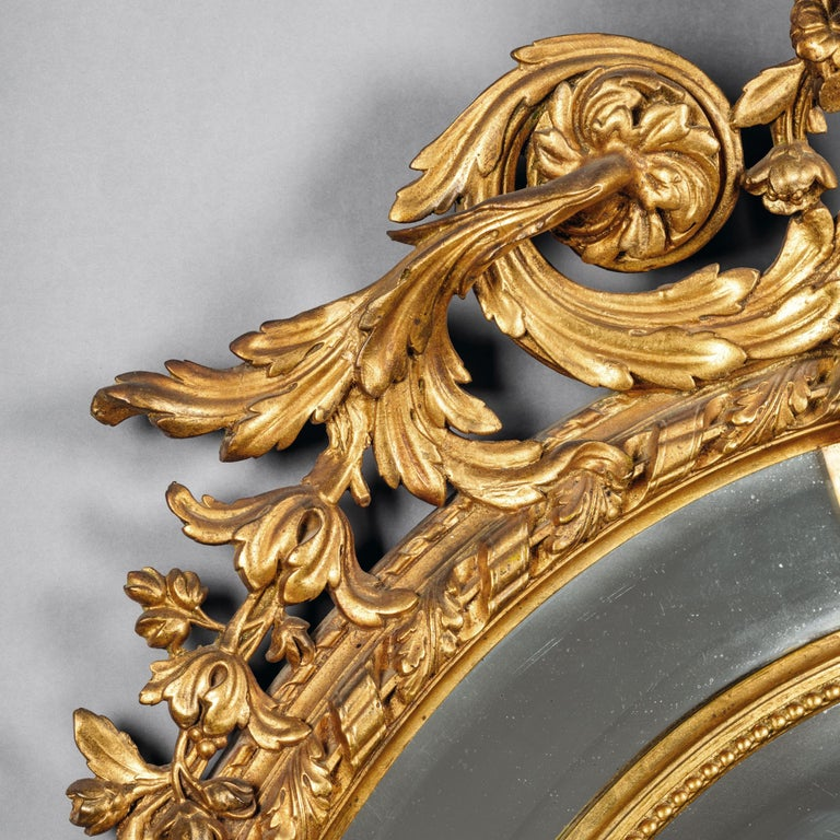 Napoleon III Carved Giltwood Oval Marginal Frame Mirror In Good Condition For Sale In London, GB