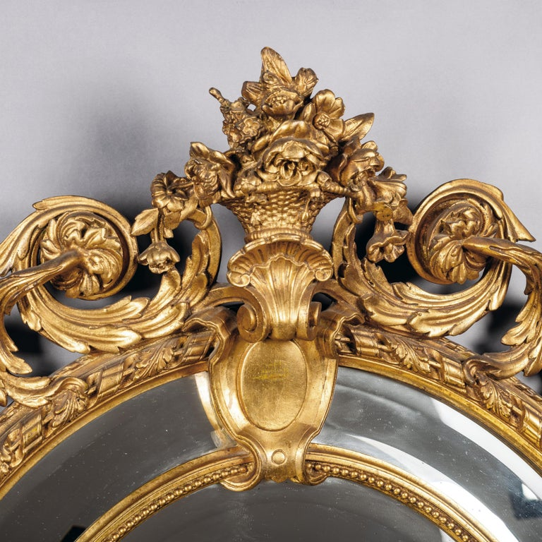 19th Century Napoleon III Carved Giltwood Oval Marginal Frame Mirror For Sale