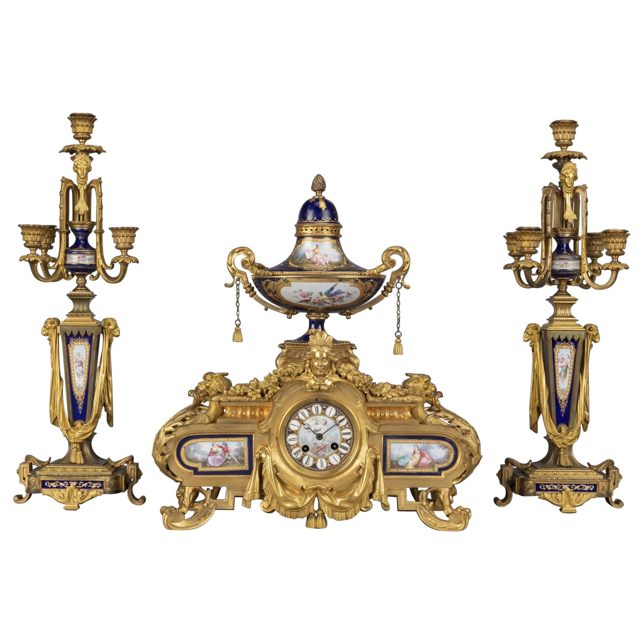 Napoleon III Clock Garniture Designed by Sévin, Cast by Barbedienne