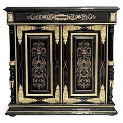 Napoleon III Copper Brass Pewter Cabinet in Boulle Style Marquetry, France 1880