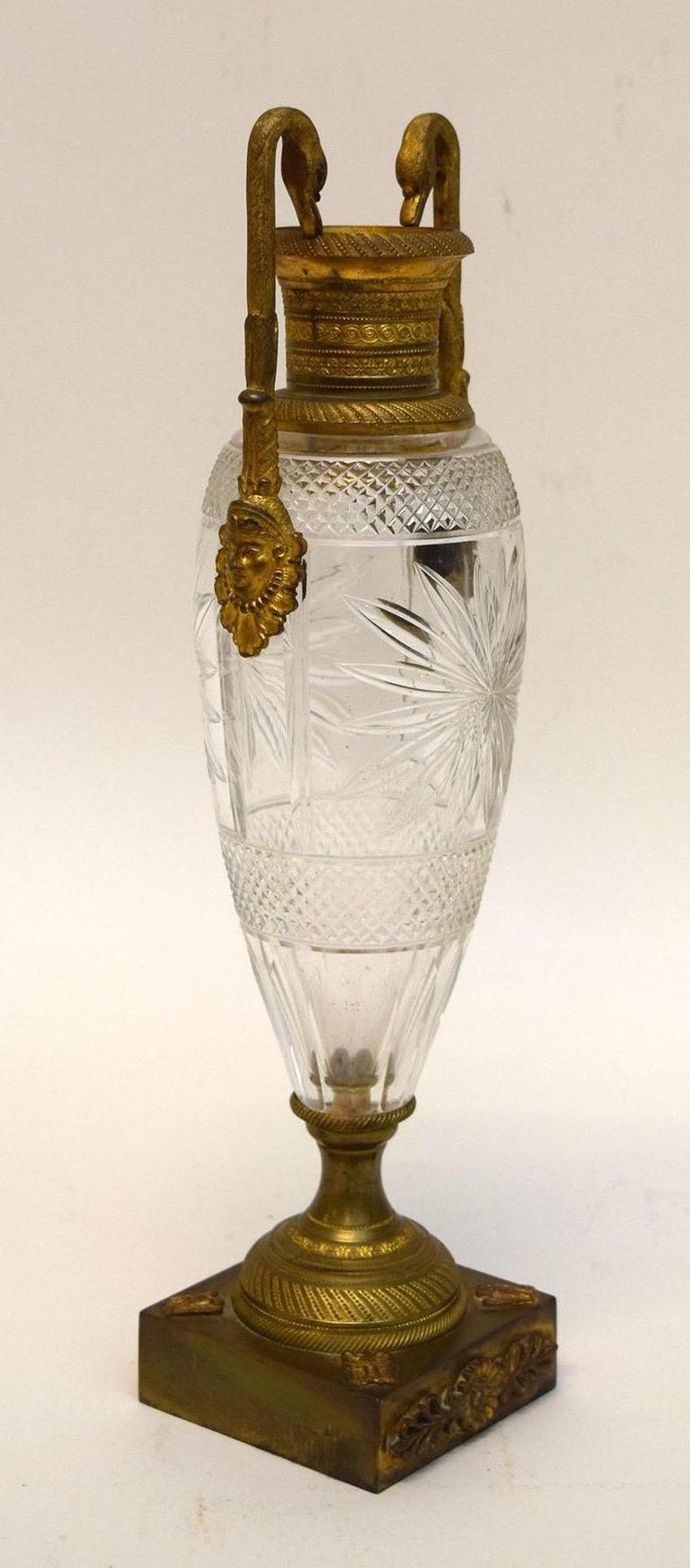 French Napoleon III Cut Crystal and Ormolu Vase For Sale