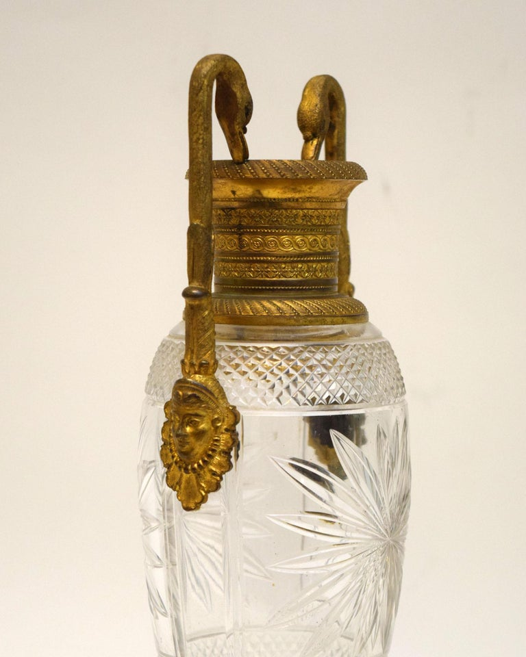 Engraved Napoleon III Cut Crystal and Ormolu Vase For Sale