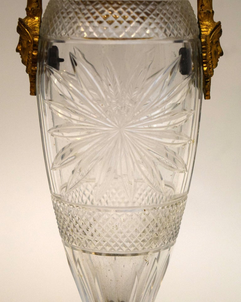 Napoleon III Cut Crystal and Ormolu Vase In Good Condition For Sale In New York, NY