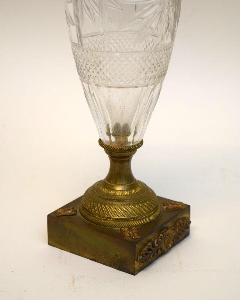 Mid-19th Century Napoleon III Cut Crystal and Ormolu Vase For Sale
