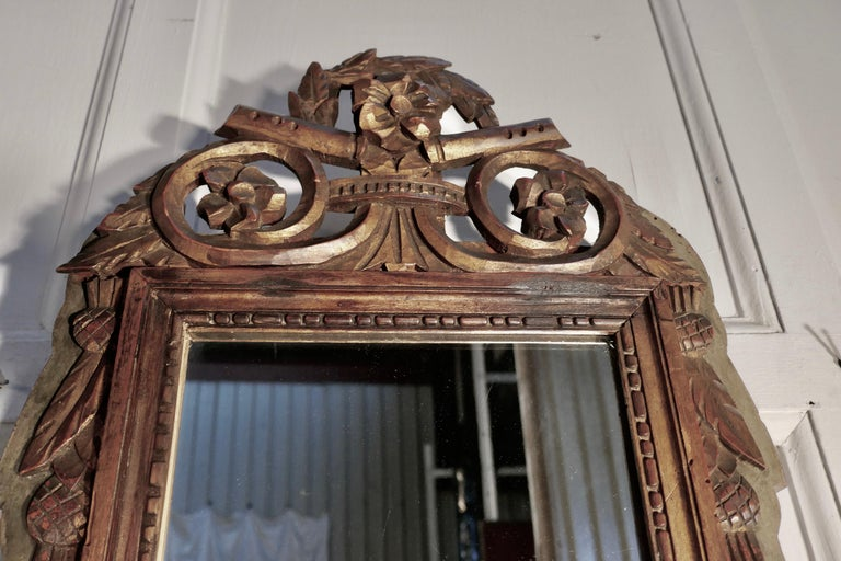 Napoleon III, distressed, faded long wall mirror  This is a very old and beautifully worn piece, the frame has lost a little of its lustre now but the gold and coloured finish is still very attractive and have not been refinished and it comes with