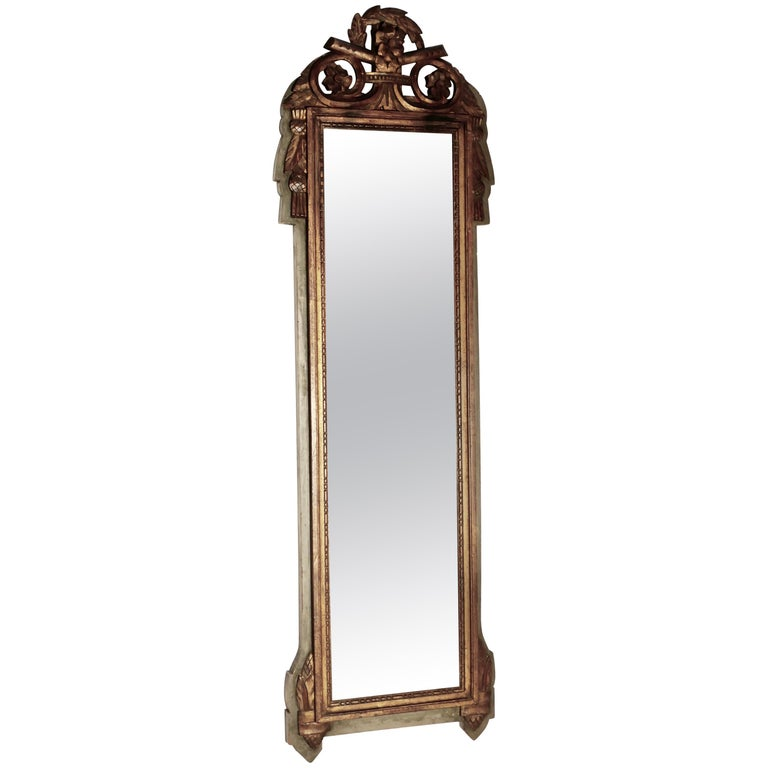 Napoleon III, Distressed, Faded Long Wall Mirror For Sale