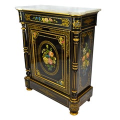 Napoleon III Ebonized and Painted Commode Called Meuble D'appui in French